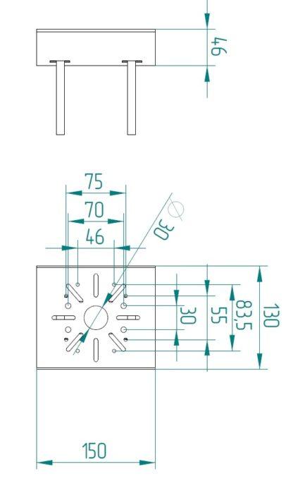 Крепление для термошкафа КМА-НМС - размеры