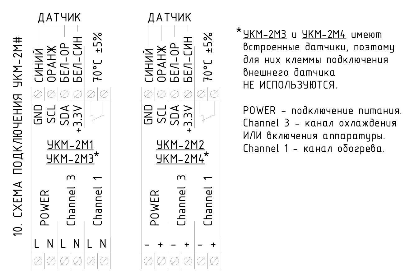 Устройство контроля микроклимата УКМ-2М - схема подключения